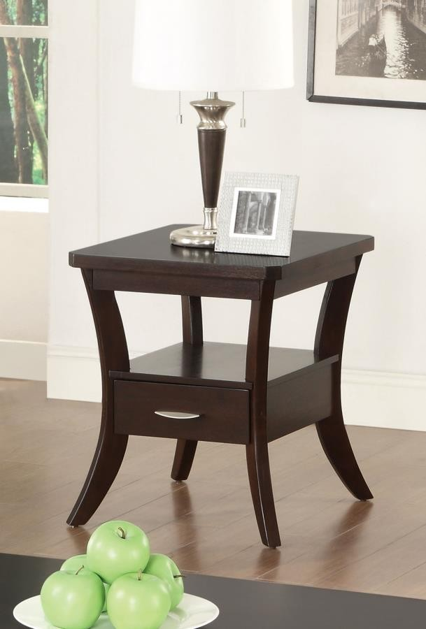 LIVING ROOM: WOOD TOP OCCASIONAL TABLES - Occasional Transitional Espresso  End Table