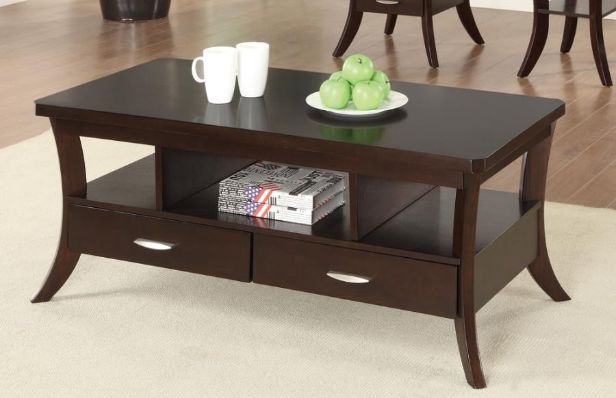 Expresso Coffee Table.Living Room Wood Top Occasional Tables Occasional Transitional Espresso Coffee Table