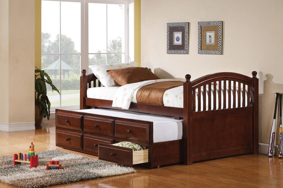 TWIN DAYBED WITH TRUNDLE - Coastal Chestnut Twin Daybed