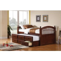 TWIN CAPTAIN'S BED WITH TRUNDLE - Coastal Chestnut Twin Daybed