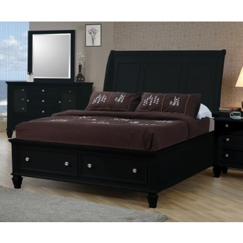 SANDY BEACH COLLECTION - Sandy Beach Black King Sleigh Bed With Footboard Storage