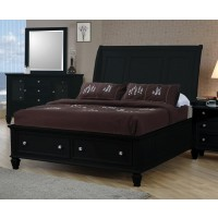 SANDY BEACH COLLECTION - Sandy Beach Black Queen Sleigh Bed With Footboard Storage