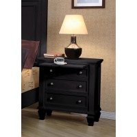 SANDY BEACH COLLECTION - Sandy Beach Black Three-Drawer Nightstand With Tray