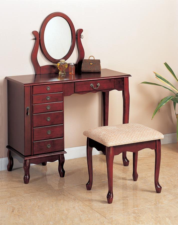 Transitional Brown Red Vanity Set