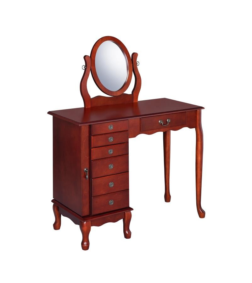 Bedroom Vanities Product: Transitional Brown Red Vanity Set