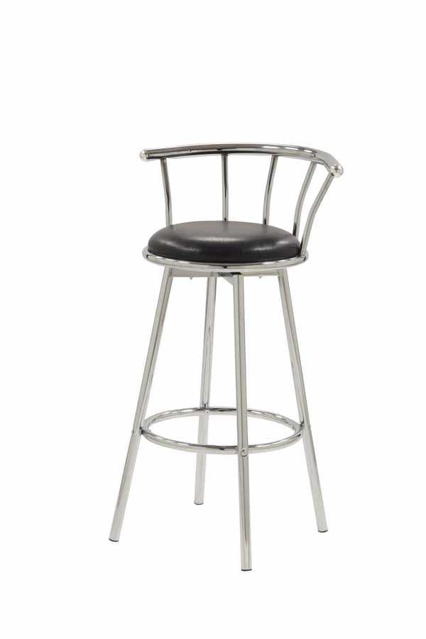 REC ROOM/ BAR TABLES: CHROME/GLASS - Chrome-Plated Swivel Bar Stool (Pack of 2)