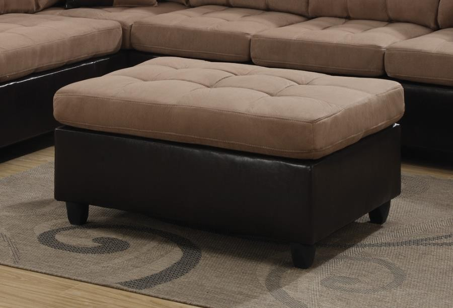 MALLORY SECTIONAL - Mallory Casual Tan Ottoman