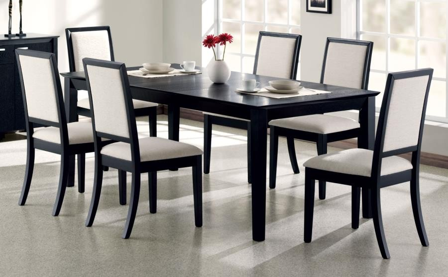 Louise Collection Louise Transitional Black Rectangular Dining Table