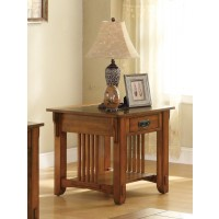 LIVING ROOM: WOOD TOP OCCASIONAL TABLES - Traditional Oak End Table