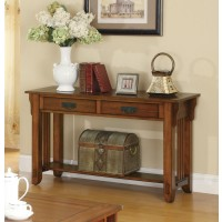 LIVING ROOM: WOOD TOP OCCASIONAL TABLES - Traditional Oak Sofa Table