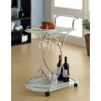 REC ROOM: SERVING CARTS - Contemporary Chrome Serving Cart