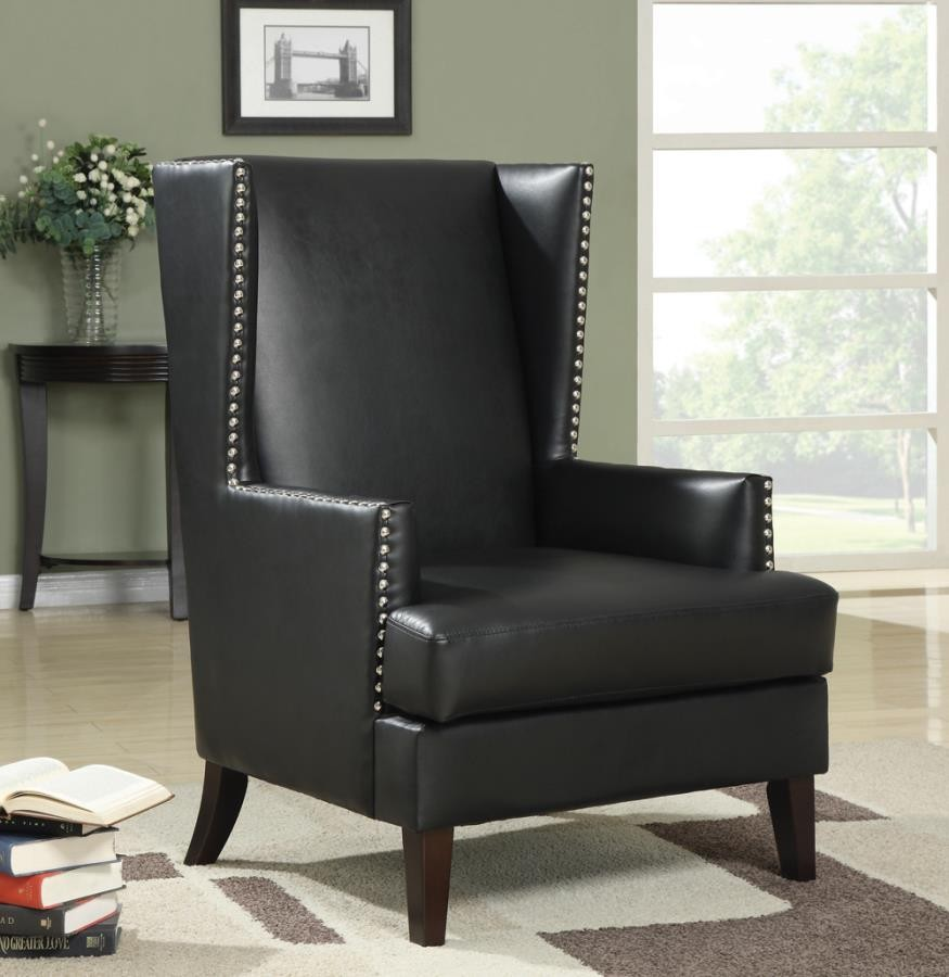 Accents Chairs Traditional Black Accent Chair 902078 Chairs Midtown Outlet Home Furnishings