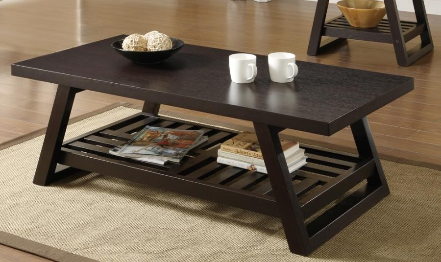 LIVING ROOM: WOOD TOP OCCASIONAL TABLES - Cappuccino Coffee Table