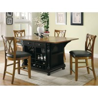 SLATER KITCHEN ISLAND - Slater Country Cherry and Black Kitchen Island