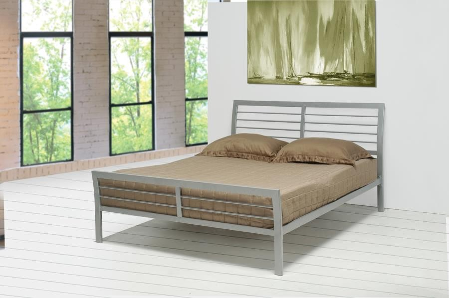 COOPER METAL BED - Cooper Contemporary Silver Queen Bed