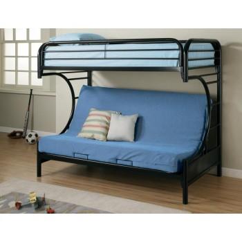 MONTGOMERY FUTON BUNK BED - Contemporary Glossy Black Futon Bunk Bed