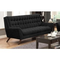 Natalia Collection - Natalia Mid-Century Modern Black Sofa