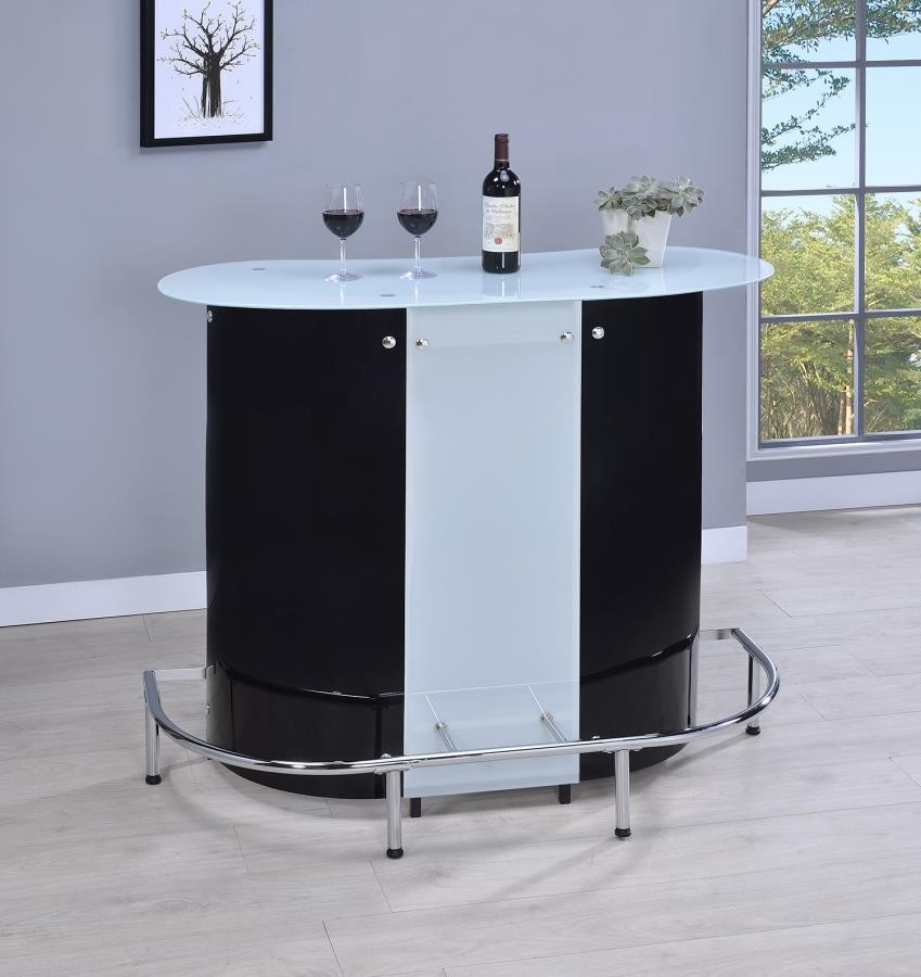 BAR UNITS: CONTEMPORARY - Contemporary Black and Chrome Bar Unit with Frosted Glass Top