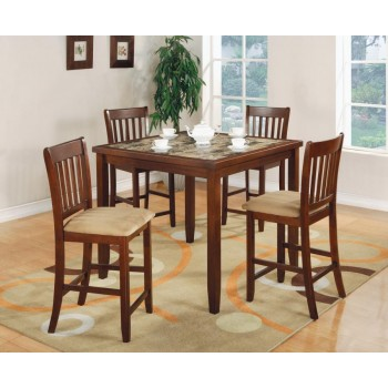 DINING: PACKAGED SETS : COUNTER HEIGHT - Five-Piece Casual Cherry Counter-Height Dining Set