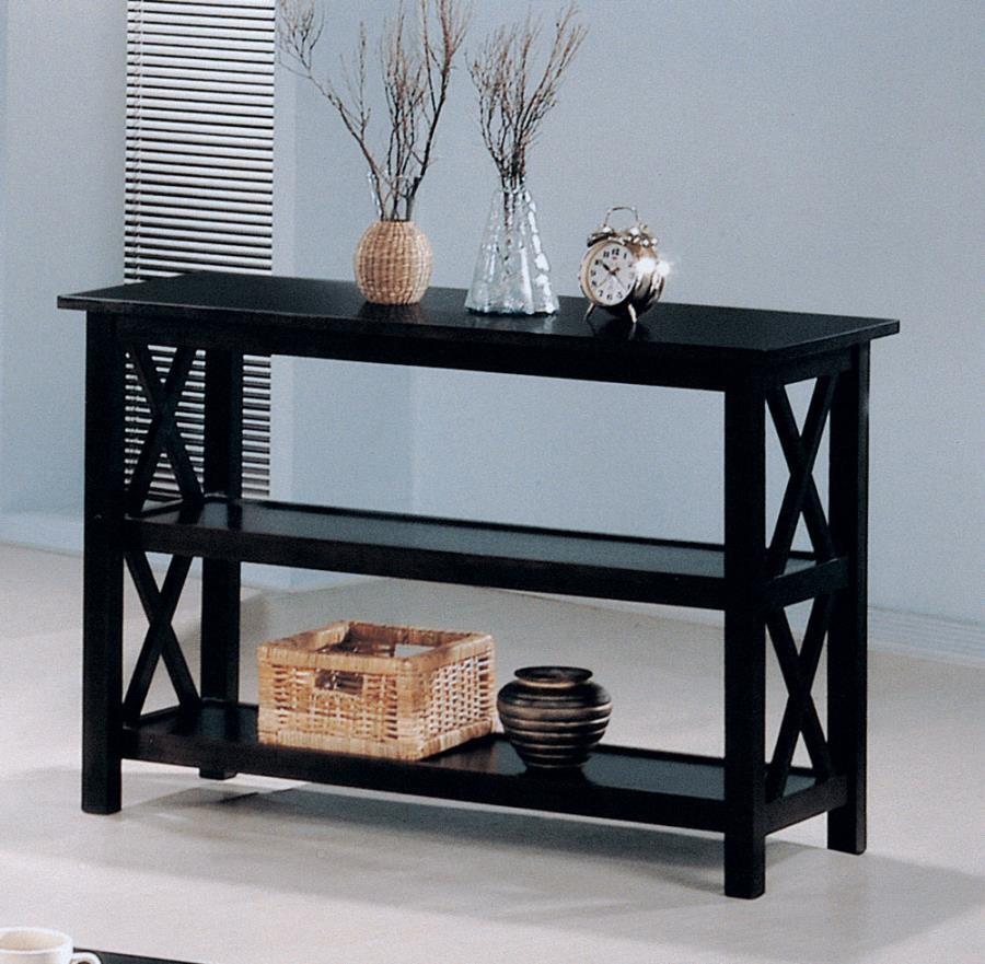 LIVING ROOM : OCCASIONAL SETS - Merlot Double Shelf Sofa Table