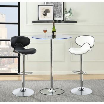 REC ROOM/ BAR TABLES: CHROME/GLASS - Contemporary Chrome LED Bar Table