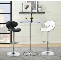 REC ROOM/ BAR TABLES: CHROME/GLASS - Contemporary Chrome LED Bar Table
