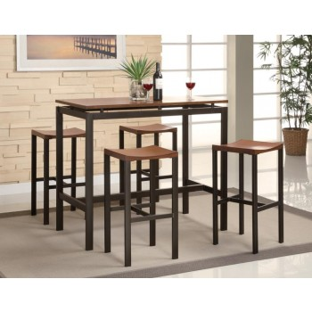 DINING: PACKAGED SETS : COUNTER HEIGHT - Atlas Birch Veneer and Black Five-Piece Dining Set