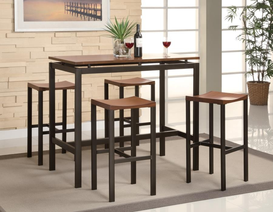 DINING: PACKAGED SETS : COUNTER HEIGHT   Atlas Birch Veneer And Black  Five Piece Dining Set