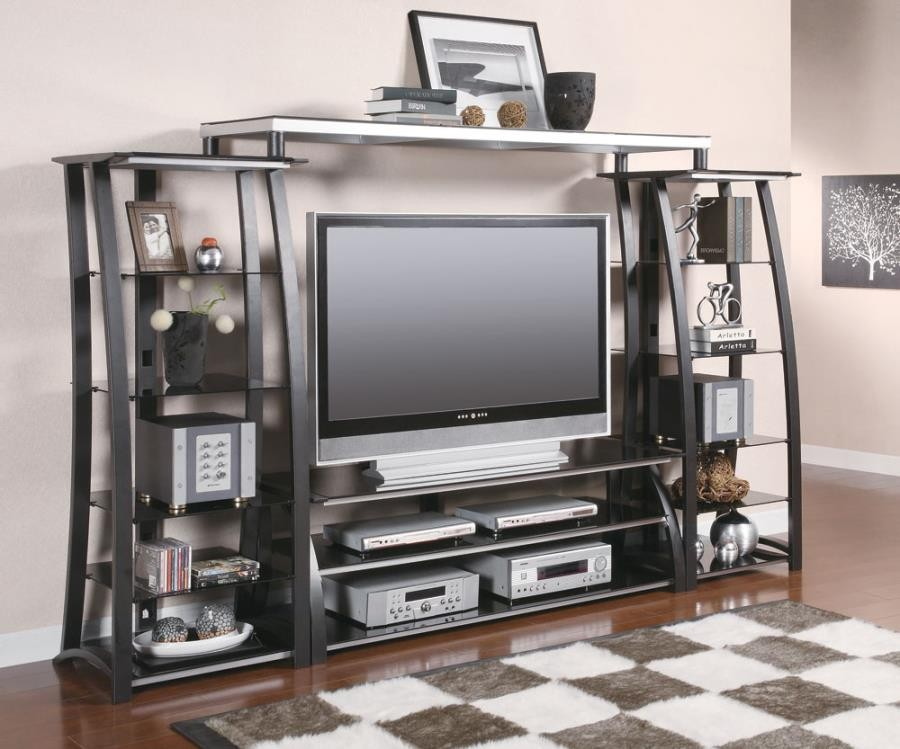 LIVING ROOM : TV CONSOLES - Contemporary Matte Black Media Tower
