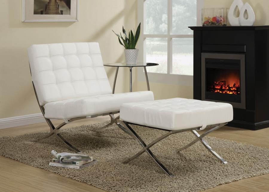 Accents Chairs White And Chrome Accent Chair 902183