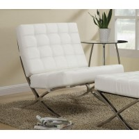 ACCENTS : CHAIRS - White and Chrome Accent Chair