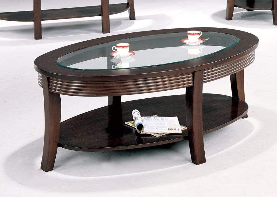 LIVING ROOM: GLASS TOP OCCASIONAL TABLES   COFFEE TABLE
