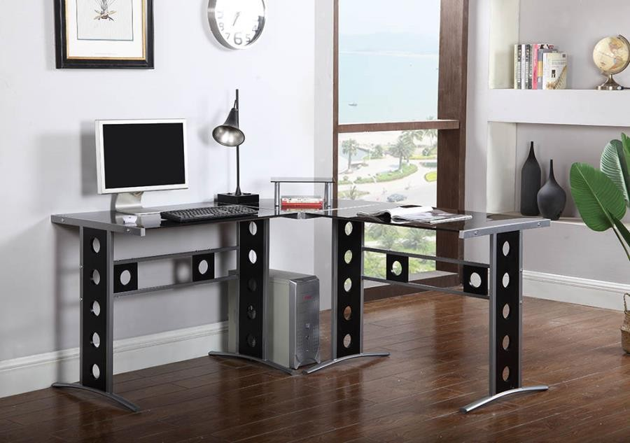Keizer Collection Casual Black And Silver Computer Desk