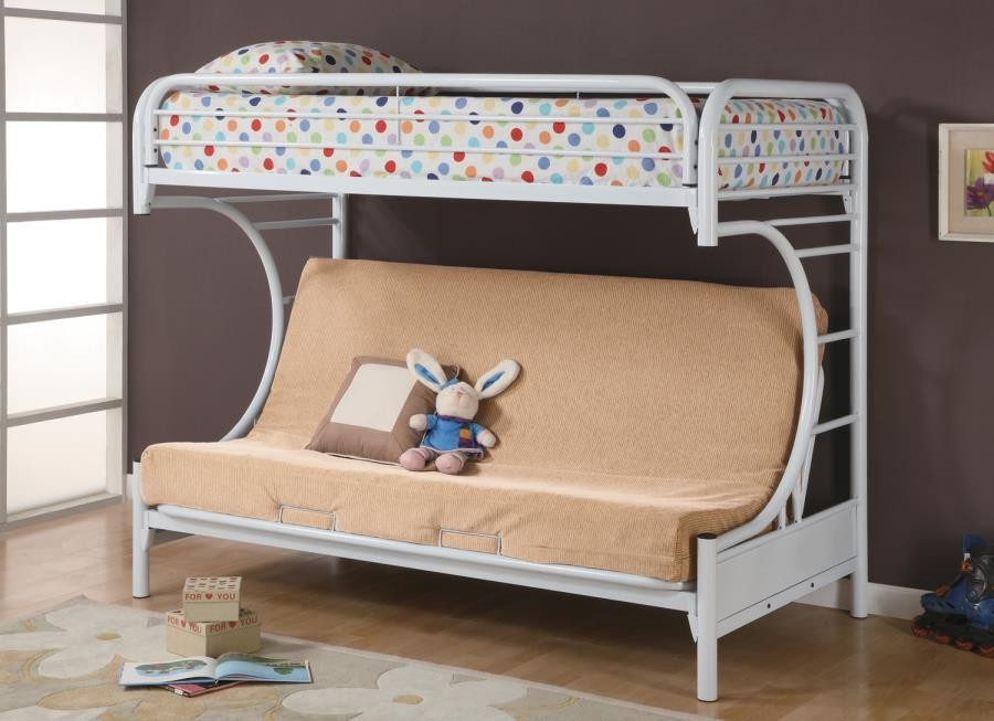 TWIN/FUTON BUNK BED - Atticus Twin-over-Full White Bunk Bed | 2253W ...