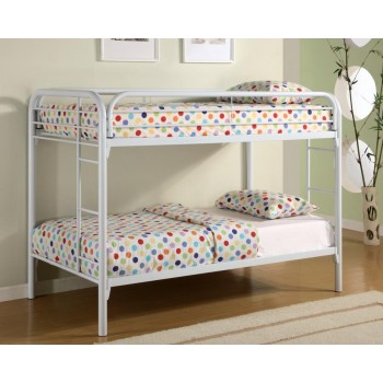 MORGAN BUNK BED - Contemporary White Twin Metal Bunk Bed