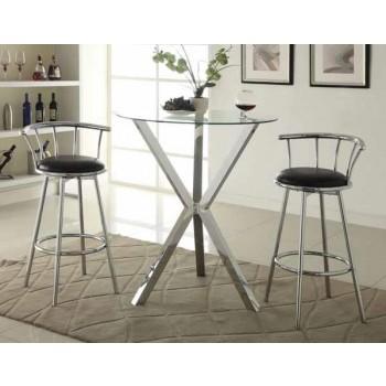 REC ROOM/ BAR TABLES: CHROME/GLASS - Contemporary Chrome Bar-Height Table