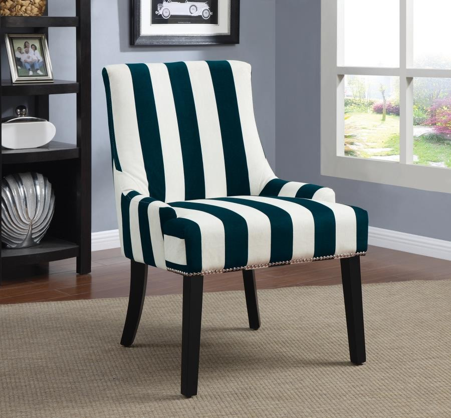 ACCENTS : CHAIRS - Transitional Navy and White Accent Chair