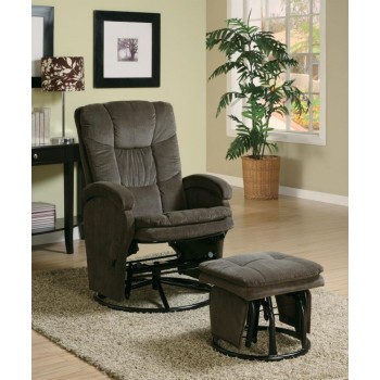 LIVING ROOM : GLIDERS - Casual Chocolate Reclining Glider With Matching Ottoman
