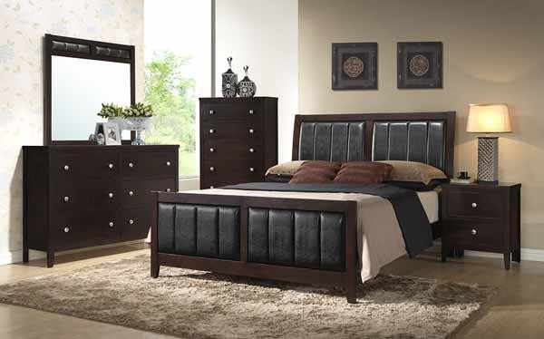 Carlton Collection  - Carlton Black Upholstered Dresser Mirror