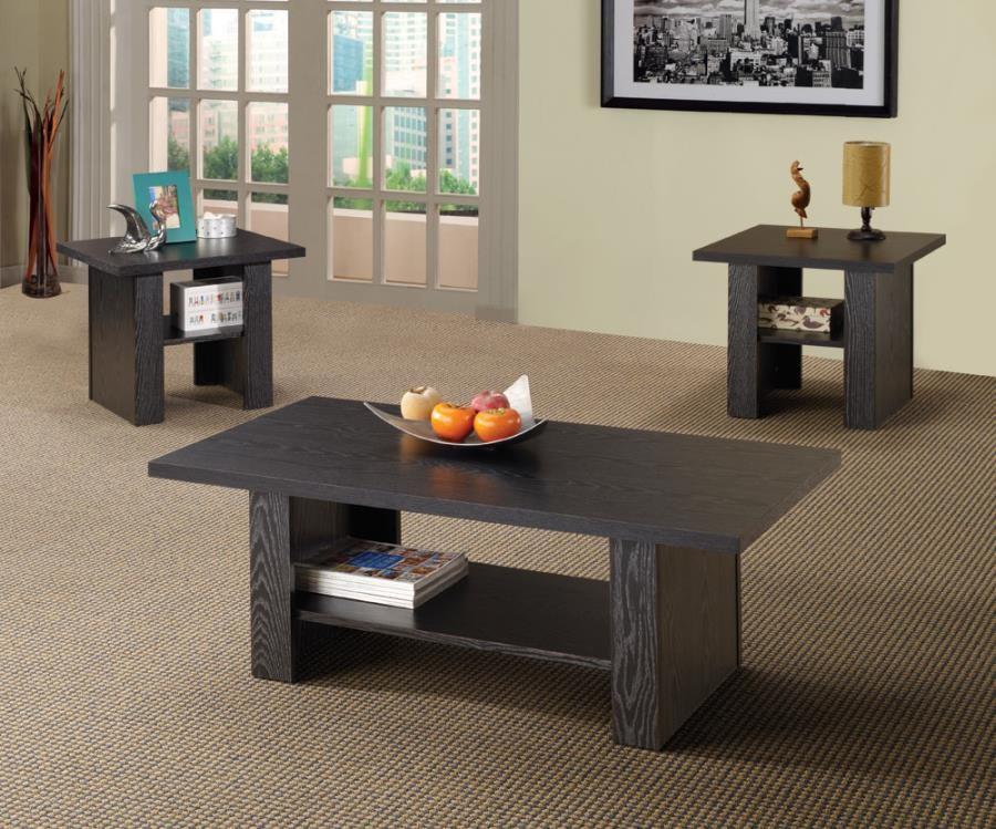 LIVING ROOM : OCCASIONAL SETS - Contemporary Black Oak Three-Piece ...