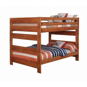 WRANGLE HILL COLLECTION - Wrangle Hill Amber Wash Full-over-Full Bunk Bed