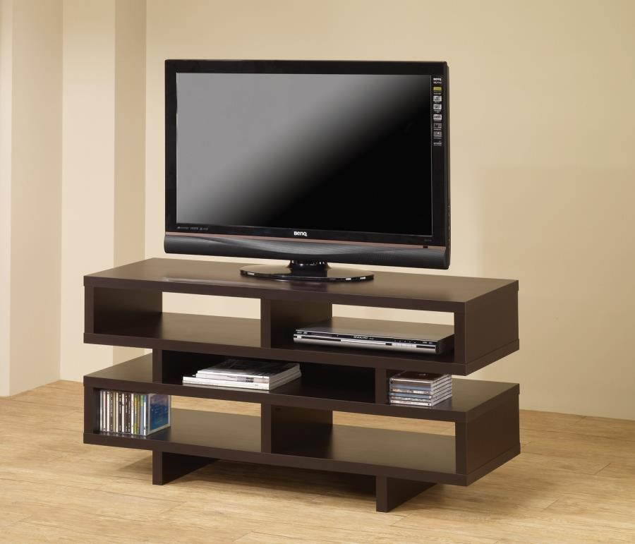 LIVING ROOM : TV CONSOLES   Contemporary Cappuccino Open Storage TV Console