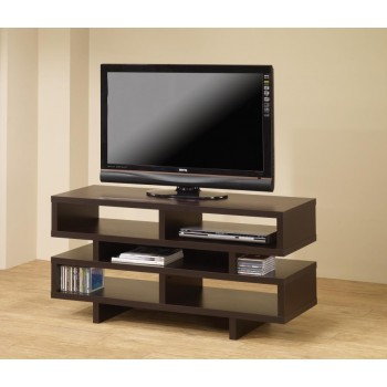 LIVING ROOM : TV CONSOLES - Contemporary Cappuccino Open Storage TV Console