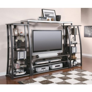 LIVING ROOM : TV CONSOLES - Contemporary Matte Black Bridge