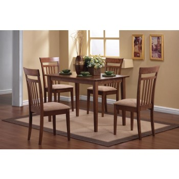 DINING: PACKAGED SETS WOOD - Casual Chestnut Five-Piece Dining Set
