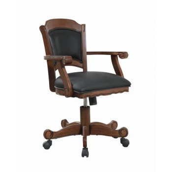 TURK GAME TABLE - Casual Black and Tobacco Upholstered Game Chair