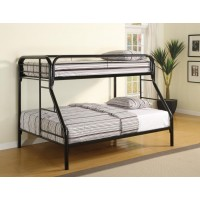 MORGAN BUNK BED - Morgan  Twin-over-Full Black Bunk Bed