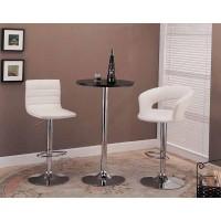 BAR STOOLS: HEIGHT ADJUSTABLE.  - Contemporary White and Chrome Adjustable Height Bar Stool (Pack of 2)
