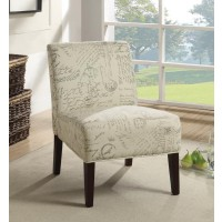 ACCENT CHAIRS - Traditional Off-White and Grey Accent Chair