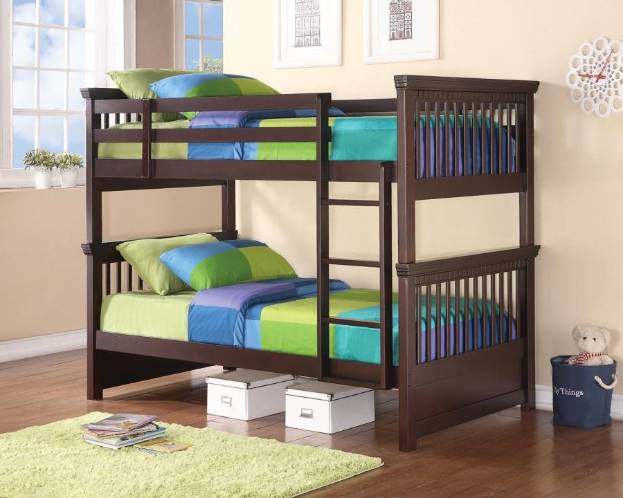 MILES COLLECTION - Miles Cappuccino Twin-over-Twin Bunk Bed